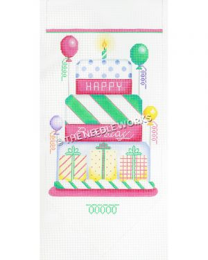 pink, green, yellow, white and purple Happy Birthday cake with one candle and colorful balloons