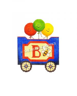 blue and red train car with letter B, bumblebee, and balloons