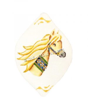 cream colored carousel horse head teardrop ornament