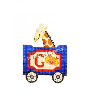 blue and red train car with letter G, girl, and giraffe