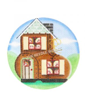 woman and children in the shoe nursery rhyme themed ornament