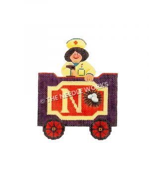 purple and gold train car with letter N, nest, and nurse