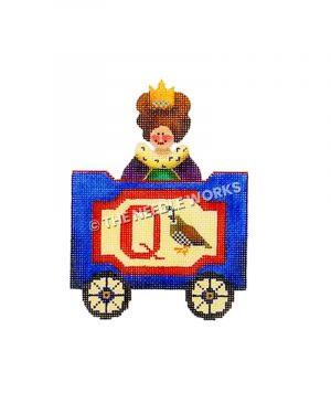 blue and red train car with letter Q, quail, and queen