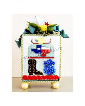 3D box with Texas themed cake decoration and yellow rose with green ribbons on top