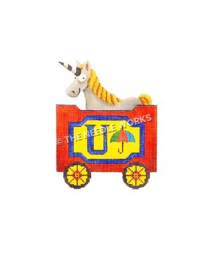 red and blue train car with letter U, umbrella, and unicorn