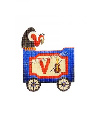 blue and red train car with letter V, violin, and vulture sitting on top
