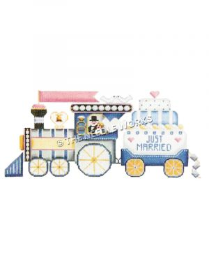 wedding train in blue, gold and white with couple in locomotive window hauling Just Married wedding cake