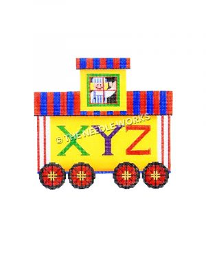 red, blue and white striped caboose with letters XYZ and man waving from window