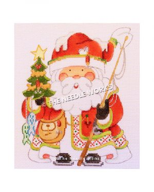 Santa wearing red robe holding Christmas tree with fish and fishing pole