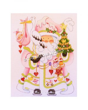 Santa wearing pink robe with baby decorations on trim holding tree and pelican with baby girl