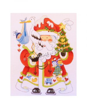 Santa wearing red robe with baby decorations on trim holding tree and pelican with baby boy