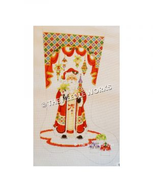 stocking with Santa in decorative red robe holding gift and elaborate staff