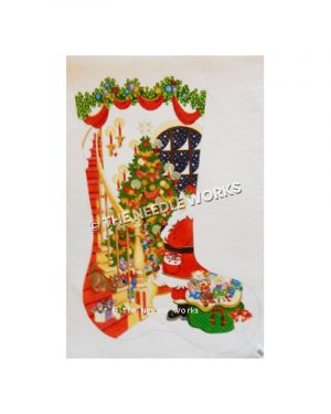 stocking with Santa and toy bag standing by Christmas tree with staircase wrapping around and garland fringe