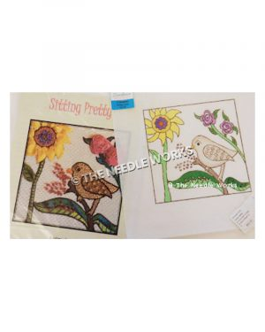brown bird with yellow sunflower and pink and purple flowers