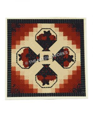 dark red fruit baskets pattern with black, white, and red border