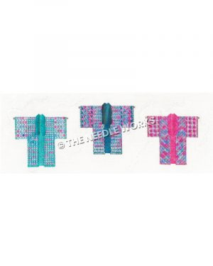 three kimonos in turquoise, teal, pink and blue colors