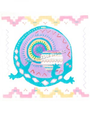 turquoise gecko lizard with purple decoration and multi-colored pot and pink and yellow southwestern border