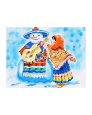 snowman dressed in southwestern sarape and sombrero with southwestern dressed woman handing snowman a guitar