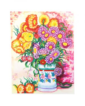 purple, red, and yellow flowers in white flower pot with colorful background