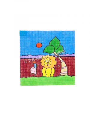 yellow lion with pink and blue chicken sitting next to tree with maroon and purple landscape and blue sky with orange sun