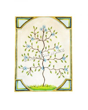 tree of life with blue and white flowers and leaves