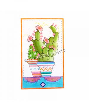 cactus with pink flowers in southwestern pattern pots
