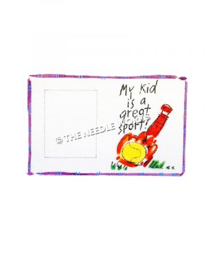 purple bordered white picture frame with red glove and baseball bat with yellow baseball and written words My Kid is a Great Sport