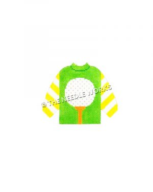 green sweater with golf ball on tee and yellow and white striped sleeves