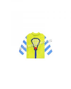 lime green sweater with lacrosse stick and ball and blue and white striped sleeves