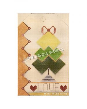 yellow and green Christmas tree with red bow tree-topper, pink side border with hearts, and LOVE written at the bottom