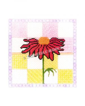 pink daisy with pink, yellow, and white block background with purple border