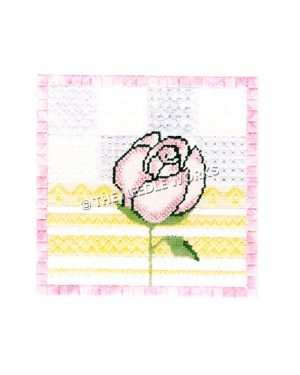 pink rose with yellow, purple, and white geometric pattern background with pink border