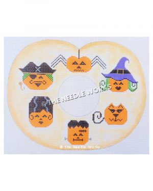 Halloween wreath with jack-o-lanterns in costumes