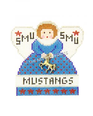 SMU angel in blue dress with red dots and Mustangs written on dress holding metal mustang embellishment