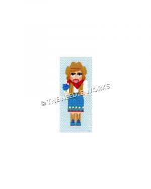 Texas cowgirl nutcracker wearing blue, white and brown dress holding bluebonnets