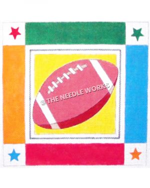 pink football with green, blue, red, and orange border with stars
