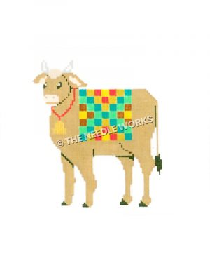 brown cow wearing bell and multi-color checkered blanket
