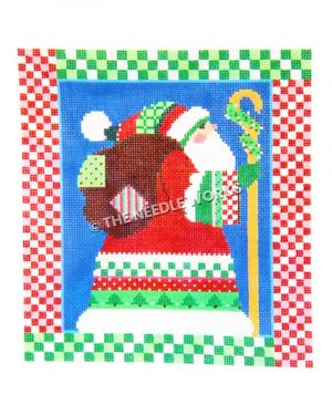 Santa profile with bag and sheperd's crook with red and white and green and white checkered borders