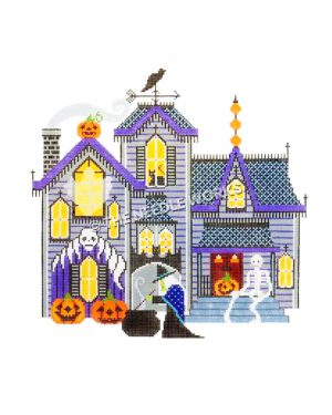 purple haunted house with witch, skeleton, black cat and bat, ghost and jack-o-lanterns