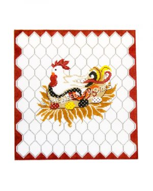 white hen sitting with red, yellow, black and white eggs on chicken wire background