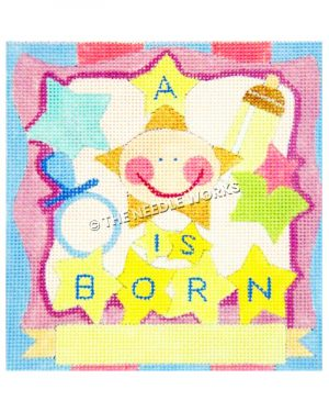 A Star is Born new baby square pattern in blue, pink, and yellow pattern