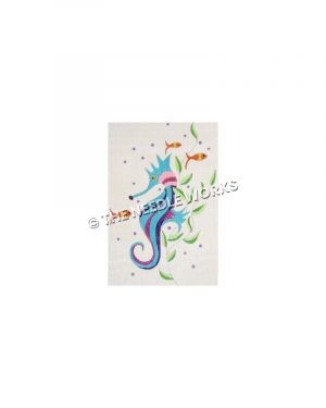 blue and purple striped seahorse on white background with goldfish