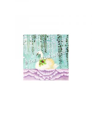 white swan with mistletoe on purple pond with hanging vines in background