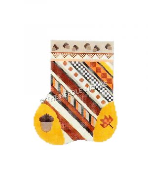 autumn themed stocking with brown, orange and yellow stripes and pattern