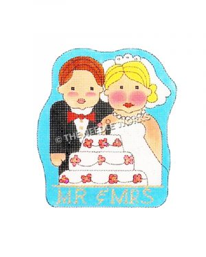 wedding couple cartoon with cake and Mr. and Mrs. written below
