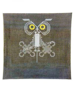 dark square pattern with yellow owl eyes