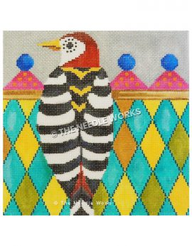 red, black, and white woodpecker with colorful diamond background