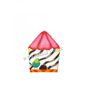 zebra colored birdhouse with pink roof and blue green bird