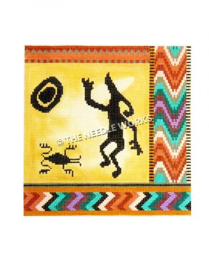 rock art design on yellow background with zigzag border