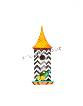 black and white zigzag birdhouse with green, yellow and blue bird